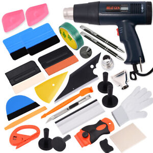 Car Wrapping Tools Vinyl Squeegee Felt Heat Gun Kit For Auto Window Tint Install