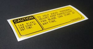 Buick Grand National Fan Caution Decal 10030420 T Type Gn Sticker