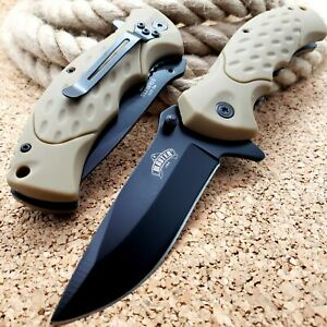 7.75#x27; Military Tactical TAN Folding Pocket Knife Spring Open Assisted Blade EDC $10.95