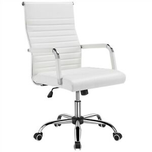 High back Office Chair Pu Leather Ribbed Office Executive Chair Swivel White