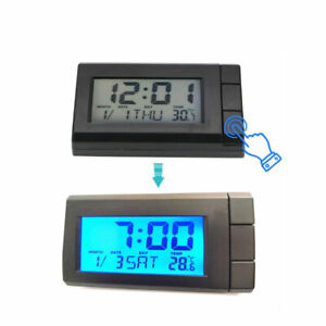 Mini Car Auto Digital Led Electronic Time Clock Thermometer With Backlight Ca