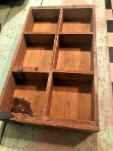 Antique Primitive Wooden Divided Box Bin Tray Cubby Display 16 X 10 Aafa