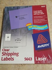 Avery Clear Shipping Labels Laser 2 X 4 1 8 500 box 5663
