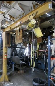 Gaffey 1 Ton Jib Crane With 1 Ton Electric Hoist With Pendant Control Good Cond