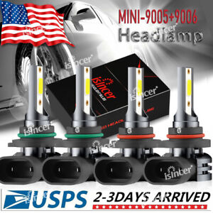 4pcs 9005 9006 Led Combo Headlight Kit Cree Cob 440w High Low Beam Light Bulbs