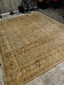 Vintage Vegetable Dye All Over Muted Turkish Area Rug Hand Made Wool 9 X11 6