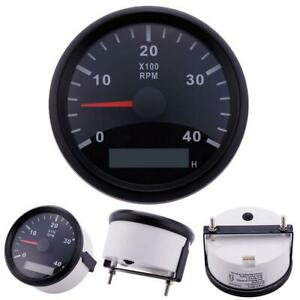 85mm Marine Boat Tachometer Tacho Gauge 8000rpm Digital Hourmeter White Us