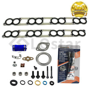 Intake Manifold Gasket Set W Blue Hose For 03 10 Ford Powerstroke Diesel 6 0l