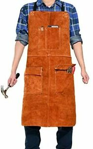 Leaseek Leather Welding Work Apron Heat Resistant Flame Resistant Bib Apron