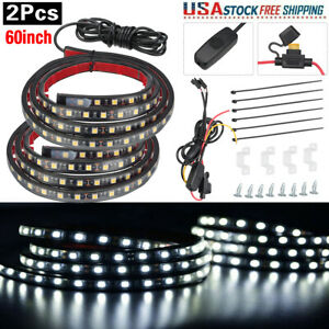2x 60 Led Bar Truck Bed Cargo Work Lighting Kit Strips For Chevy Ford Dodge Gmc