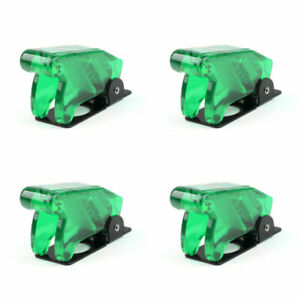4x Toggle Switch Boot Plastic Safety Flip Cover Cap 12mm Clear Green At2