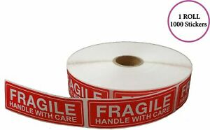 1 Roll Of 1000 1 X 3 Fragile Handle With Care Shipping Label Handling Stickers