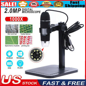 8 Led 1000x Usb Digital Microscope Endoscope Magnifier Video Camera Lift Stand