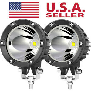 2x 4 inch Round Cree Led Spot Work Lights Off Road Driving Fog 4wd Boat Tractor