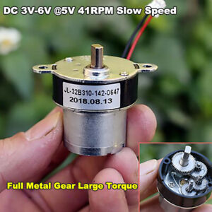 Micro 32mm 310 Small Gear Motor Dc3v 5v 6v Metal Gearbox Slow Speed Large Torque