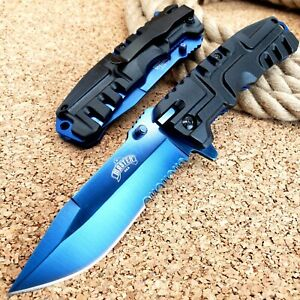 8.5quot; Spring Assisted Open Tactical Folding Pocket Knife Blue Blade Assist EDC $10.95