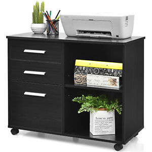Costway 3 drawer File Cabinet Mobile Lateral Storage Shelf Printer Stand Black