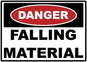 Danger Falling Material Decal Safety Sticker Sign Osha Construction Site