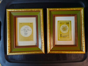 Set Of 2 Vintage Wormy Chestnut Wood Picture Frames Green Gold Brown