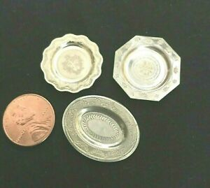 Variety Of 3 Dollhouse Miniature Sterling Silver Engraved Plates