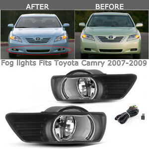 For 2007 2009 Toyota Camry Clear Bumper Fog Lights W switch Harness