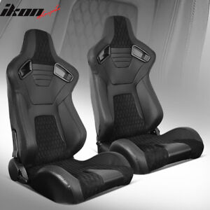 Universal Pair Reclinable Racing Seats Dual Sliders Pu Carbon Leather Suede