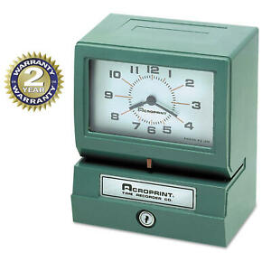 Acroprint Analog Automatic Print Time Clock W Month date 0 23 Hour Model 150