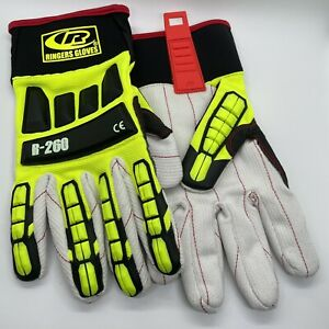 Ringers r 260 Roughneck Lime Hi viz Cut Lvl 2 Gloves Pair W Cotton Palm Xl