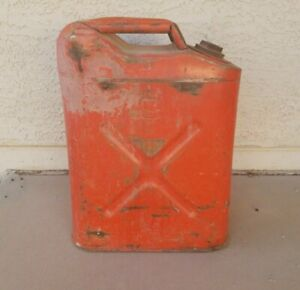 Vintage Usmc 5 Gallon Metal Gas Can Dot5l 20 5 81 Red Jerry Jeep Military Fuel