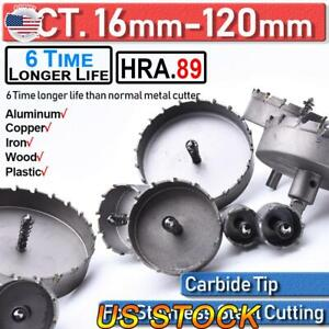 16 120mm Tct Carbide Hole Saw Metal Cutter Tool Set Stainless Steel Hss Wood Us