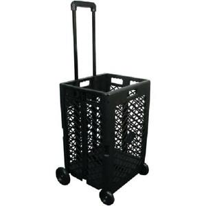 Rolling Cart Milk Crate Adjustable Handle Portable Folding Tools Strong Wheels