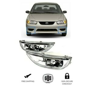 For Toyota Corolla 2001 2002 Fog Driving Lights Set Clear Chrome Pair Left Right