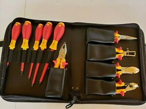 New Wiha Tools 10 Piece Insulated Electrical Lineman s Tool Set Case 32891