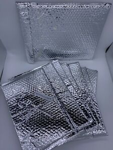 6 Jam Bubblopes Reusable Metallic Silver Padded Bubble Mailer storage 10 X 13