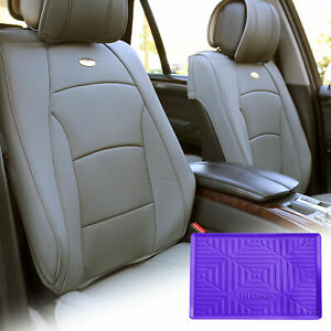 Leatherette Seat Cushion Covers Front Bucket Gray W Purple Dash Mat For Auto