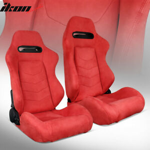 Universal Pair Reclinable Racing Seats Dual Sliders Red Suede