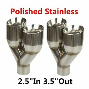 2x Stainless 2 5 in 3 5 out Left Right Exhaust Dual Slant Polished Tip Staggered