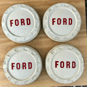 Vintage Ford Truck Pickup Dog Dish Bottle Cap Hubcaps 4 White Red