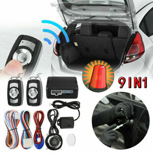 Car Alarm System Engine Start Push Button Remote Starter Keyless Entry 9pcs Set