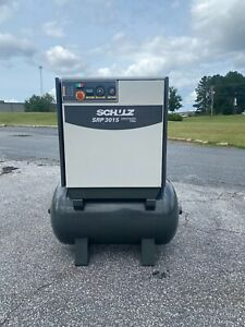 Used 15 Hp Schulz Rotary Air Compressor Tank Mounted 80 Gallon