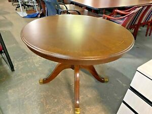 Round Conference Table W Inlay Top Design In Walnut Color Wood 42 d