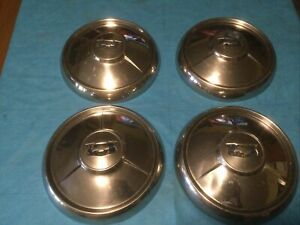 54 1954 Chevy Hubcaps 10 Dog Dish Chevrolet Poverty Cap Set Of 4
