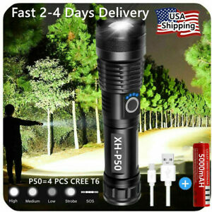 Super Bright 90000LM LED Tactical Flashlight With Rechargeable Battery $16.98