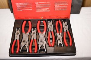Snap On Tools 7pc Convertible Switch Snap Ring Pliers Set Red Srpc107