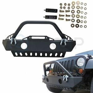 Eccpp Front Bumper W Fog Light Holes And Skid Plate For 2007 2018 Jeep Wrangler