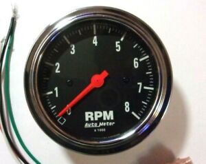 Autometer 2499 Traditional Chrome 3 3 8 Tachometer Gauge In Dash Tach 8k Rpm