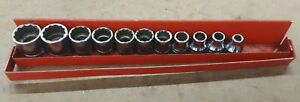 Snap on 3 8 Drive 12 Point Shallow Socket Set F81 F241 11 Pieces W Holder