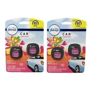 Febreze Car Vent Clip Air Freshener Gain Island Fresh Scent 2 Count pack Of 2