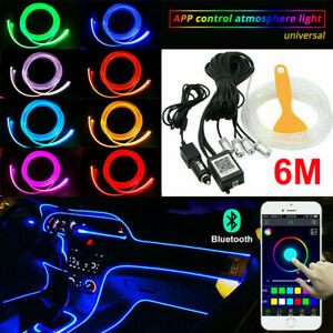 6m Rgb Led Car Interior Fiber Optic Neon El Wire Strip Atmosphere Light Kit App