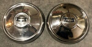 Two 1955 1956 1957 Chevrolet Bel Air Nomad 210 Dog Dish Poverty Hubcaps
